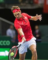 Switserland, Genève, September 18, 2015, Tennis,   Davis Cup, Switserland-Netherlands, Roger Federer (SUI)<br /> Photo: Tennisimages/Henk Koster