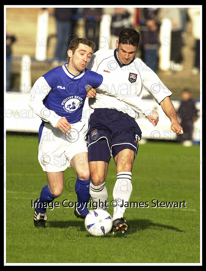26/10/02       Collect Pic : James Stewart                     .File Name : stewart-qots v ross county 03.JOHN O'NEILL AND MARK MCCULLOCH CHALLENGE FOR THE BALL..........James Stewart Photo Agency, 19 Carronlea Drive, Falkirk. FK2 8DN      Vat Reg No. 607 6932 25.Office : +44 (0)1324 570906     .Mobile : + 44 (0)7721 416997.Fax     :  +44 (0)1324 570906.E-mail : jim@jspa.co.uk.If you require further information then contact Jim Stewart on any of the numbers above.........