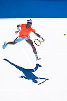 9th February 2021, Melbourne, Victoria, Australia; Rafael Nadal of Spain returns the ball during round 1 of the 2021 Australian Open on February 9 2020, at Melbourne Park in Melbourne, Australia.