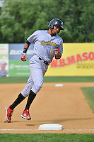 Aaron Altherr (12) of the Reading Fightin Phils rounds third base during a game against the New Britain Rock Cats at New Britain Stadium on July 13, 2014 in New Britain, Connecticut. Reading defeated New Britain 6-4.   (Gregory Vasil/Four Seam Images)