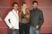 "LUCA BIZZARRI, VANESSA HESSLER & PAOLO KESSISOGLU .Photocall for ""Asterix aux jeux olympiques"" (Asterix at the Olympic Games), Rome, Italy..January 28th, 2008.half length black lace see through thru top leather jacket brown white shirt grey gray goatee facial hair .CAP/CAV.©Luca Cavallari/Capital Pictures. *** Local Caption *** ."