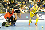 Berlin, Germany, February 09: During the FIH Indoor Hockey World Cup Pool B group match between Germany (black) and Australia (yellow) on February 9, 2018 at Max-Schmeling-Halle in Berlin, Germany. Final score 2-2. (Photo by Dirk Markgraf / www.265-images.com) *** Local caption *** Clare COMERFORD #5 of Australia, Franzisca HAUKE #21 of Germany