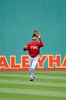 Potomac Nationals center fielder Blake Perkins (22) settles under a fly ball during the first game of a doubleheader against the Salem Red Sox on June 11, 2018 at Haley Toyota Field in Salem, Virginia.  Potomac defeated Salem 9-4.  (Mike Janes/Four Seam Images)