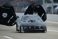 Apr. 27, 2012; Baytown, TX, USA: NHRA pro mod driver Leah Pruett during qualifying for the Spring Nationals at Royal Purple Raceway. Mandatory Credit: Mark J. Rebilas-