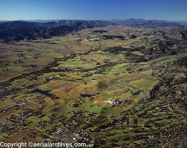 aerial photograph from Silverado Resort up the Napa Valley in the fall, Napa County,  California
