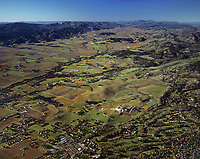 aerial photograph from Silverado Resort up the Napa Valley in the fall, Napa County,  California