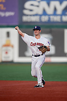 Brooklyn Cyclones second baseman Luke Ritter (3) throws to first base during a NY-Penn League game against the Tri-City ValleyCats on August 17, 2019 at MCU Park in Brooklyn, New York.  The game was postponed due to inclement weather, Brooklyn defeated Tri-City 2-1 in the continuation of the game on August 18th.  (Mike Janes/Four Seam Images)