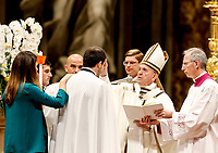 Pope Francis gives the Confirmation to a man during the Easter vigil ceremony in St. Peter's Basilica at the Vatican, April 20, 2019.<br /> UPDATE IMAGES PRESS/Riccardo De Luca<br /> <br /> STRICTLY ONLY FOR EDITORIAL USE