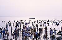 jbo11130 Asia India religion hinduism hindu god religious puja worship pilgrims devotees take a holy dip bath in sea ocean at Rameswaram swim crowds.Indien Südasien Religion Hinduismus Gott Pilger nehmen ein Bad im Meer ozean in der heiligen Stadt Rameswaram Wasser Verehrung baden schwimmen.copyright Joerg Boethling / agenda