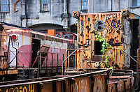 ATENCAO EDITOR:FOTO EMBARGADA PARA VEICULOS INTERNACIONAIS-RIO DE JANEIRO, RJ, 11 SETEMBRO 2012 - TRENS DESATIVADOS- Trens desativados e abandonados na centenaria Estacao Leopoldina (Av. Francisco Bicalho, S/N) na Leopoldina, zona Portuaria do Rio de Janeiro. FOTO: MARCELO FONSECA / BRAZIL PHOTO PRESS