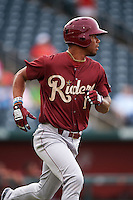 Frisco RoughRiders outfielder Nick Williams (1) runs to first during a game against the Springfield Cardinals on June 3, 2015 at Hammons Field in Springfield, Missouri.  Springfield defeated Frisco 7-2.  (Mike Janes/Four Seam Images)