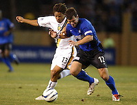 25 September 2004: Jeff Agoos of Earthquakes battles for the ball against Cobi Jones of Galaxy at Spartan Stadium in San Jose, California.   Earthquakes and Galaxy are tied 0-0.