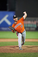 Aberdeen IronBirds relief pitcher Daniel Ayers (32) delivers a pitch during a game against the Batavia Muckdogs on July 15, 2016 at Dwyer Stadium in Batavia, New York.  Aberdeen defeated Batavia 4-2.  (Mike Janes/Four Seam Images)