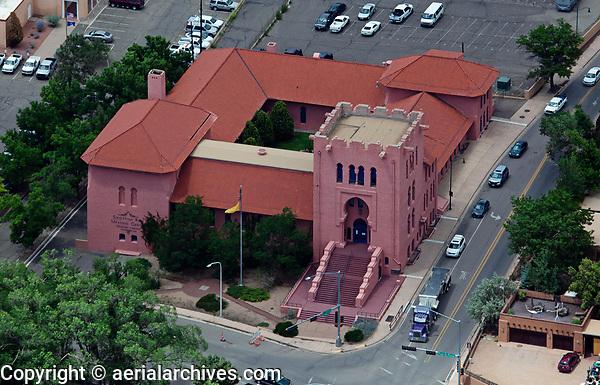 aerial photograph of Scottish Rite Masonic Temple, Santa Fe, New Mexico