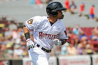 Wisconsin Timber Rattlers third baseman Yeison Coca (9) runs to first base during a game against the South Bend Cubs on July 21, 2021 at Neuroscience Group Field at Fox Cities Stadium in Grand Chute, Wisconsin.  (Brad Krause/Four Seam Images)