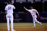 Bradenton Marauders Jackson Glenn (10) points to the bullpen as he rounds the bases after hitting a home run as first baseman Anthony Garcia (31) looks on during Game Three of the Low-A Southeast Championship Series against the Tampa Tarpons on September 24, 2021 at George M. Steinbrenner Field in Tampa, Florida.  (Mike Janes/Four Seam Images)