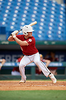 Dominic Scavone (13) of Bishop Moore High School in Orlando, FL during the Perfect Game National Showcase at Hoover Metropolitan Stadium on June 17, 2020 in Hoover, Alabama. (Mike Janes/Four Seam Images)
