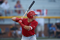 Michael Perri (8) of the Johnson City Cardinals at bat against the Burlington Royals at Burlington Athletic Stadium on July 15, 2018 in Burlington, North Carolina. The Cardinals defeated the Royals 7-6.  (Brian Westerholt/Four Seam Images)