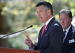 Nevada Gov. Brian Sandoval speaks at the 21st annual Nevada State Law Enforcement Officers Memorial ceremony in Carson City, Nev., on Thursday, May 3, 2018. <br />Photo by Cathleen Allison/Nevada Momentum