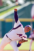 Kyle Lloyd (35) of the Evansville Purple Aces delivers a pitch during a game against the Indiana State Sycamores in the 2012 Missouri Valley Conference Championship Tournament at Hammons Field on May 23, 2012 in Springfield, Missouri. (David Welker/Four Seam Images)..