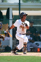 GCL Pirates designated hitter Edison Lantigua (10) at bat during a game against the GCL Yankees East on August 15, 2016 at the Pirate City in Bradenton, Florida.  GCL Pirates defeated GCL Yankees East 5-2.  (Mike Janes/Four Seam Images)