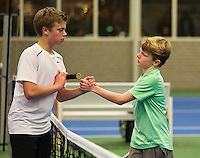01-12-13,Netherlands, Almere,  National Tennis Center, Tennis, Winter Youth Circuit, Julian Prins(L) and Jesper de Jong shake hands  <br /> Photo: Henk Koster
