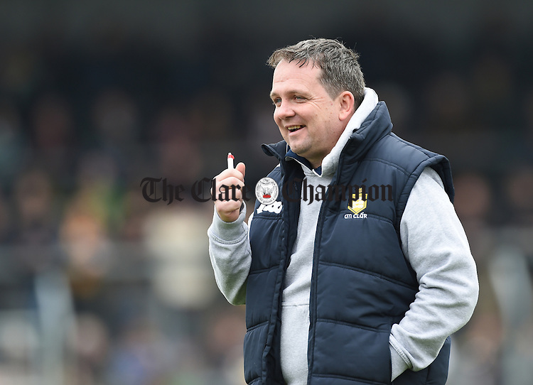 Clare manager Davy Fitzgerald before their Div. 1b Round 5 game against Limerick in Cusack park. Photograph by John Kelly.