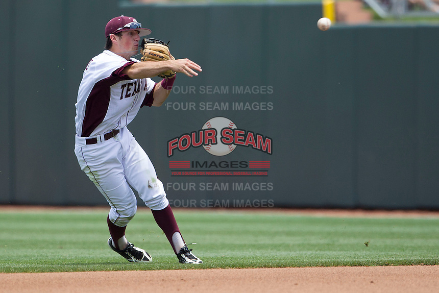 Texas A&M Aggies second baseman Blake Allemand (1) makes a throw to first base against the LSU Tigers in the NCAA Southeastern Conference baseball game on May 11, 2013 at Blue Bell Park in College Station, Texas. LSU defeated Texas A&M 2-1 in extra innings to capture the SEC West Championship. (Andrew Woolley/Four Seam Images).