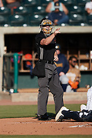Home plate umpire Matt Blackborow makes a strike call during the Low-A East Championship game between the Down East Wood Ducks and the Charleston RiverDogs at Joseph P. Riley, Jr. Park on September 26, 2021 in Charleston, South Carolina. (Brian Westerholt/Four Seam Images)