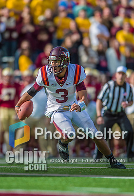 2 November 2013: Virginia Tech Hokies quarterback Logan Thomas (3) tries to score on a keeper play against the Boston College Eagles in the third quarter at Alumni Stadium in Chestnut Hill, MA. The Eagles defeated the Hokies 34-27. Mandatory Credit: Ed Wolfstein-USA TODAY Sports *** RAW (NEF) Image File Available ***