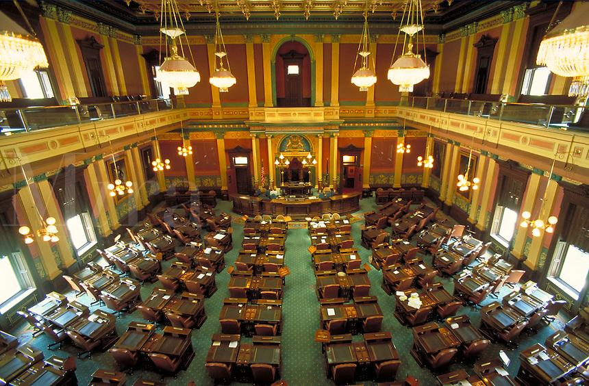 House Legislative chamber after renovation. Lansing Michigan USA downtown.