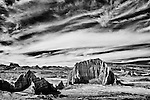 Rock formations in Cathedral Valley captured with an infrared camera.