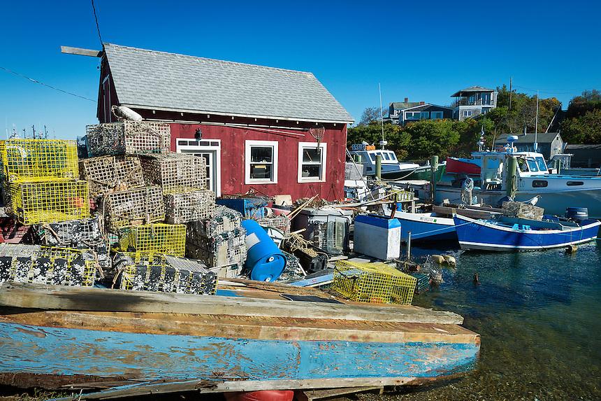 Fishing shack, lobster traps and boats in the village of Menemsha, Chilmark, Martha's Vineyard, Massachusetts, USA