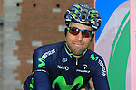 Movistar Team rider at the sign on before the start of the 104th edition of the Milan-San Remo cycle race at Castello Sforzesco in Milan, 17th March 2013 (Photo by Eoin Clarke 2013)