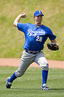 Brett Richardson #28 of the Burlington Royals throws in the outfield at Howard Johnson Stadium June 27, 2009 in Johnson City, Tennessee. (Photo by Brian Westerholt / Four Seam Images)