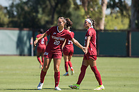 STANFORD, CA - SEPTEMBER 12: Andrea Kitahata and Maya Doms during a game between Loyola Marymount University and Stanford University at Cagan Stadium on September 12, 2021 in Stanford, California.