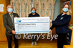 Donie Moynihan presenting a cheque to Recovery Haven of €4,461 from the Million Dollar Round Table Foundation fundraiser on Tuesday. L to r: Donie Moynihan, Maureen O'Brien and Siobhan McSweeney.