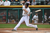 Brennan Boesch (23) of the Salt Lake Bees at bat against the Reno Aces at Smith's Ballpark on May 5, 2014 in Salt Lake City, Utah.  (Stephen Smith/Four Seam Images)