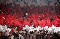 Calcio, Europa League: Roma vs CSKA Sofia. Roma, stadio Olimpico, 1 ottobre 2009..Football, Europe League: AS Roma vs CSKA Sofia. Rome, Olympic stadium, 1 october 2009..Cska Sofia fans wave flags..UPDATE IMAGES PRESS/Riccardo De Luca
