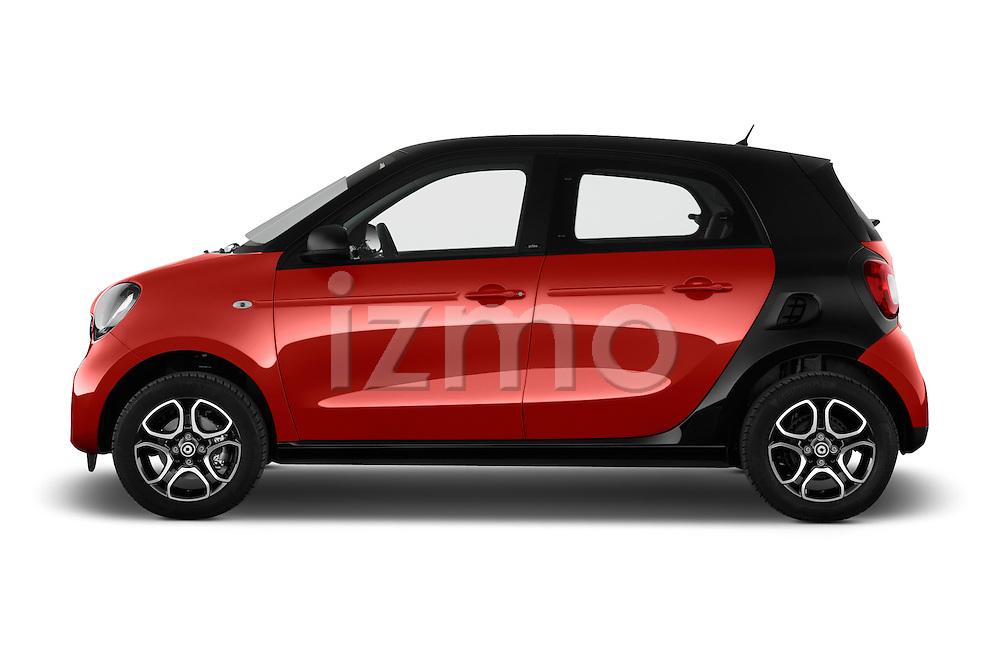 Car Driver side profile view of a 2015 Smart FORFOUR Prime 5 Door Micro Car Side View