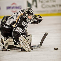 13 November 2015: Providence College Friar Goaltender Alanna Serviss, a Junior from Chicago, IL, makes a second period save against the University of Vermont Catamounts at Gutterson Fieldhouse in Burlington, Vermont. The Lady Friars defeated the Lady Cats 4-1 in Hockey East play. Mandatory Credit: Ed Wolfstein Photo *** RAW (NEF) Image File Available ***