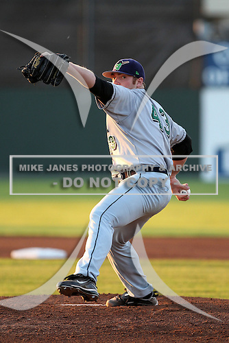 Jamestown Jammers pitcher Alan Oaks (43) during a game vs. the Batavia Muckdogs at Dwyer Stadium in Batavia, New York;  September 2nd, 2010.   Jamestown defeated Batavia 5-4.  Photo By Mike Janes/Four Seam Images