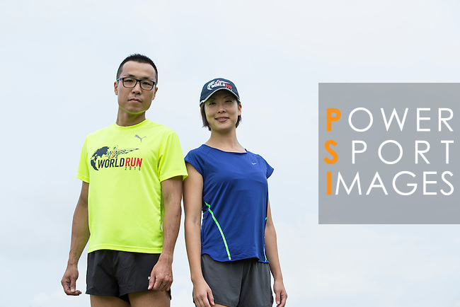 2014 Taiwan Male Champion Chih Chun Li (left) and 2014 Taiwan Female Champion Sally Wang (right) pose for a photograph during the Wings for Life World Run on 08 May, 2016 in Yilan, Taiwan. Photo by Victor Fraile / Power Sport Images