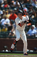 SAN FRANCISCO, CA - JULY 25: Mike Yastrzemski #5 of the San Francisco Giants bats against the Pittsburgh Pirates during the game at Oracle Park on Sunday, July 25, 2021 in San Francisco, California. (Photo by Brad Mangin)
