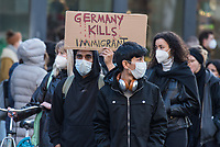 """Mehr als 10.000 Menschen kamen nach Veranstalterangaben am Samstag den 20. Februar 2021 in Berlin zu einer Demonstration anlaesslich des 1. Jahrestages des rassistischen Terroranschlag in Hanau.<br /> Ein Rechtsextremist hatte in Hanau am 19.2.2020 neun Menschen aus rassistischen Motiven erschossen.<br /> Bundesweit fanden zum Gedenken an die Opfer unter dem Motto """"Say their names"""" (engl. nennt ihre Namen) Aktionen und Demonstrationen statt.<br /> 20.2.2021, Berlin<br /> Copyright: Christian-Ditsch.de"""