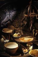 Europe/France/Bretagne/29/Finistère/Quimper : Crêpes bretonnes dans la cheminée du château de Guilguiffin