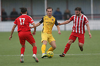 Mickey Parcell of Hornchurch and Daniel Trendall of Bowersl during Bowers & Pitsea vs Hornchurch, Emirates FA Cup Football at The Len Salmon Stadium on 2nd October 2021