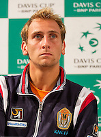 12-09-12, Netherlands, Amsterdam, Tennis, Daviscup Netherlands-Swiss, Press-conference Netherlands, Thiemo de Bakker.