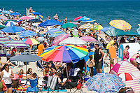 Crowded summer beach with colorful umbrellas, Nauset Beach, Cape Cod National Seashore, Cape Cod, MA