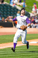 Third baseman Austin Yount #4 of the Winston-Salem Dash charges down the third base line for a pop fly against the Kinston Indians at BB&T Ballpark on April 17, 2011 in Winston-Salem, North Carolina.   Photo by Brian Westerholt / Four Seam Images